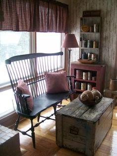 Love idea, countri rustic, bench, primit countri, primitive chairs, primit decor, hous, live room, earli primit