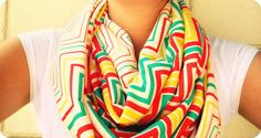 """DIY: Funky """"O"""" Scarves (infinity scarves) only need x1 yard of knit fabric + a sewing machine @Amanda Sweigart we need to go to the fabric district"""