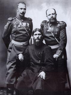 Grigory Rasputin, Major-General Putyatin and Colonel Lotman by Karl Bulla