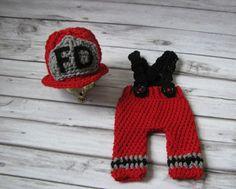 Crochet fire fighter newborn set-firemans hat- pants with suspenders-fire fighter photo prop
