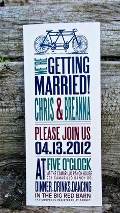 Wedding Invitation: Rustic - Bicycle Invitation. $2.00, via Etsy.