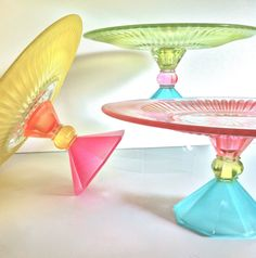 Colorful cake stands.
