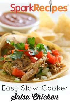 Slow-Cooker Salsa Chicken. Made this for the first time last week...it won't be the last! I added chili spiced tomatoes, mushrooms, black beans and a few extra spices for a kick and a little shredded cheddar w/fat free sour cream on top. Even my picky eaters loved it!!  via @SparkPeople #chicken #recipe #slowcooker #healthy