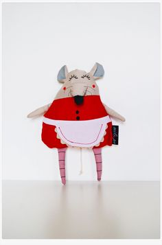 "Stuffed toyTabitha (Tabby) the Mouse handmade cloth doll stuffed animal rag doll softie teddy bear - red beige black 10"" (26cm) Easter gift"