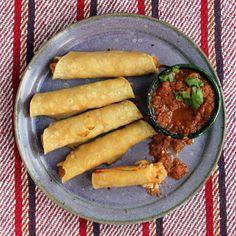 Chicken Flautas with Cotija and Salsa Roja | SAVEUR