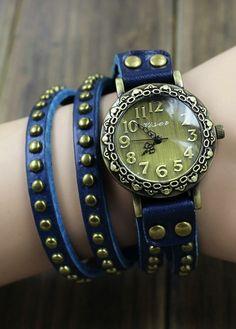 Rivet belt watch
