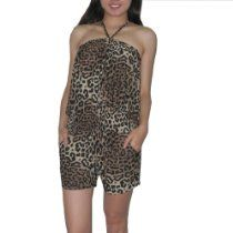 Womens Thai Exotic Fitted Stretchy Animal Print Sleeveless Romper / Jumpsuit - Brown & Black