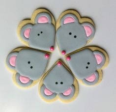 Mouse cookies using a heart shaped cutter.