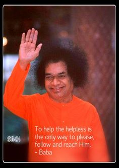 Sathya Sai Baba blessing photo with quote