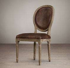 Vintage French Round Leather Side Chair  20hx 20w x 24d x 40H