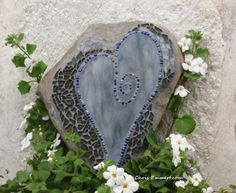 "Stormy"" Mosaic Heart Garden Stone 