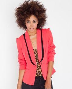 Neon pink tuxedo blazer + leopard.