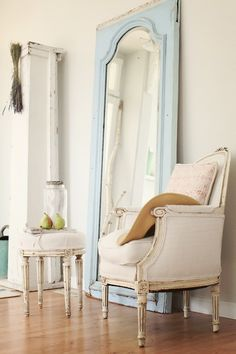 I'd like a big ol mirror and chair in my room, please. chair, interior, vintage mirrors, blue, shabby chic, old doors, bedroom, vintage style, antique doors