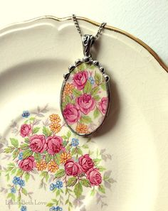 Broken china jewelry necklace pendant antique pink roses china made from a broken plate