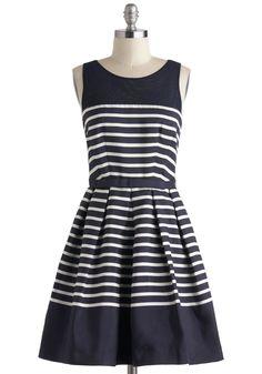 we love this sleeveless nautical dress in navy and white, very nice