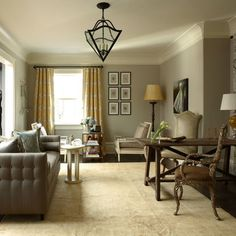 Benjamin Moore Revere Pewter Paint  love the color scheme & the curtains!!