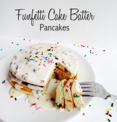 Funfetti Cake Batter Pancakes with Rainbow Chip Icing Syrup {Funfetti Week}