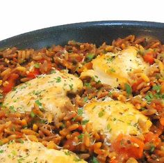 skillet chicken and orzo with tomatoes and parmesan cheese
