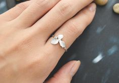Orchid ring, Flower ring, Pendant ring, Chain