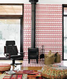 A beautiful wall of art with patterned #tile! And guess what!? Tile doesn't always have to go in a kitchen or bath!! #TileSensations