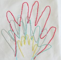 Embroidered Hand Prints- freeze time