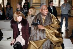 Andre Leon Talley at Paris Fashion Week this morning seated with the queen Anna Wintour...this photo says 'living my life like it's golden'