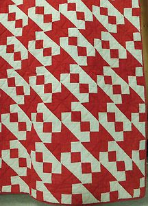 Antique Quilt Handmade Old Jacobs Ladder Cotton Turkey Red White | eBay, i_spy_design
