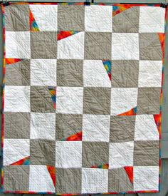 Modern Baby Quilt Gray and White Colorful by EveningInTheGarden, $80.00