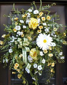 Wild Spring Wreaths, St Patricks Day Wreaths, Spring Wreath Summer, Etsy Spring Wreaths, Yellow and White