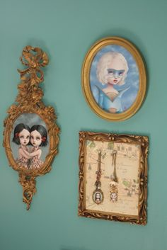 beautiful vintage frames. (and beautiful art by my friend Mab Graves.)