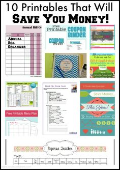 One of the best ways to stay organized when it comes to saving money is to utilize printables. Here are 10 FREE printables that will help you save money!