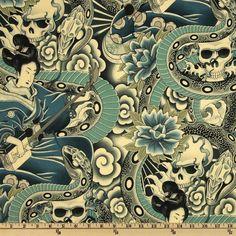 Zen Charmer Floral Blue/Green - Discount Designer Fabric - Fabric.com