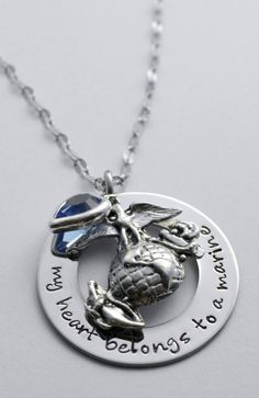 #USMC #military #veterans Marine necklace  My heart belongs to a marine by LauriginalDesigns - Post Jobs and Become a Sponsor at www.HireAVeteran.com