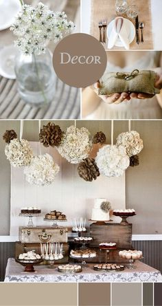 Natural country wedding decor.  Love the tissue poms and table set up