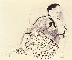 "David Hockney ""Celia in an Armchair"" 1981. 2 color lithograph. Hockney focused on the Southern California lifestyle after moving to California in the early 1960's.  He drew imagery and inspiration from his own life and from the lives of his friends and lovers.  A painter, printmaker, book artist, and set designer, Hockney has redefined the way we observe everyday reality with his diverse and ever-evolving work."