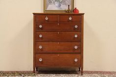 Sheraton Cherry 1825 Tall Chest of Drawers - Harp Gallery Antique Furniture