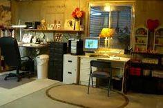 Basement art studio set up