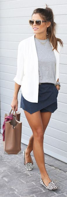 Navy And White Pinstripe Pointed Hem Skort by Seams For a Desire