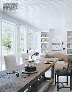 I love this rough hewn wood country-style table