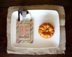 Thanksgiving Table Decor-BE THANKFUL–utensil holders  theidearoom.net