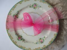 Gorgeous Vintage Noritake Adela Seafoam Green Pink Dinner Plates Set of Four