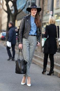 Leather and Denim perfect combo for this weather.