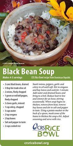 Black Bean Soup - Dominican Republic - CRS Rice Bowl