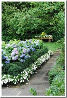 greigeboxwoodsandhydrangea2 thumb Finding Your Landscape Style – Part 2