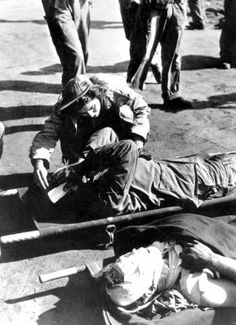 Ensign Jane Kendeigh, a US Navy nurse, was the first Navy flight nurse to reach Iwo Jima after the Allied invasion, March 1945.