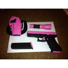 My custom pink and black glock 9mm and accessories :)