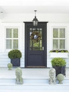 White & Navy :: Dark Navy Front Door. With a yellow flowered wreath or yellow flowers in the planters. the doors, window, black doors, door colors, white, front doors, planters, porch, entrance