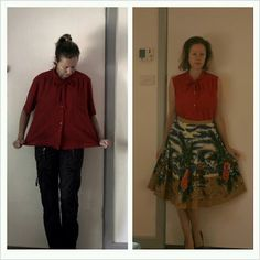red bow, shirt refashion, recycled fashion, recycl fashion, red shirt