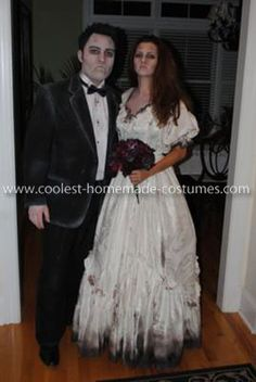 Homemade Dead Bride And Groom Costume: This Homemade Dead Bride And Groom Costume was a fun costume to wear! First, I found an old southern wedding dress at a vintage clothing store. Then I