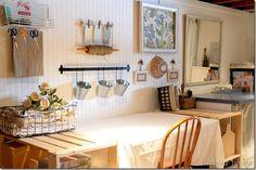 Basement laundry turned craft room, beadboard gallery wall